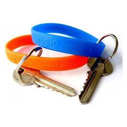 Силиконовые браслеты с кольцом для ключей, упаковка 100 шт.